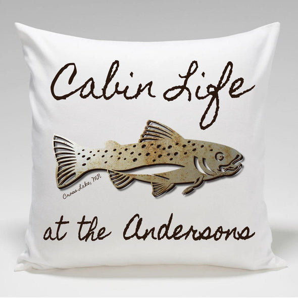 Personalized Cabin Throw Pillow - Trout - JDS
