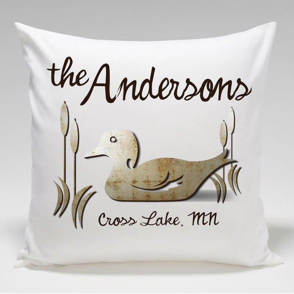 Personalized Cabin Throw Pillow - Duck - JDS