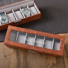 Personalized Brown Crocodile Watch Box at AGiftPersonalized