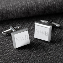 Personalized Cufflinks - Silver - Modern - Square - Groomsmen Gifts