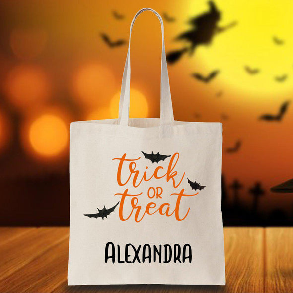 Personalized Halloween Trick or Treat Bat Tote Bag -  - JDS