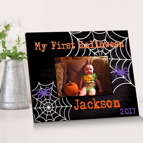 Personalized Halloween Picture Frame - SpiderWeb - Frames - AGiftPersonalized