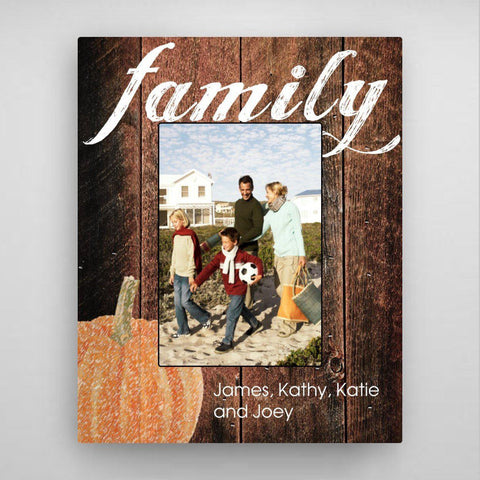 Personalized Family Fall Picture Frame - Pumpkin