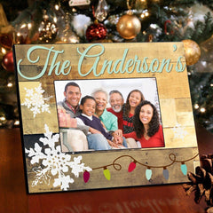 Personalized Family Snowflakes Picture Frame - Christmas Lights