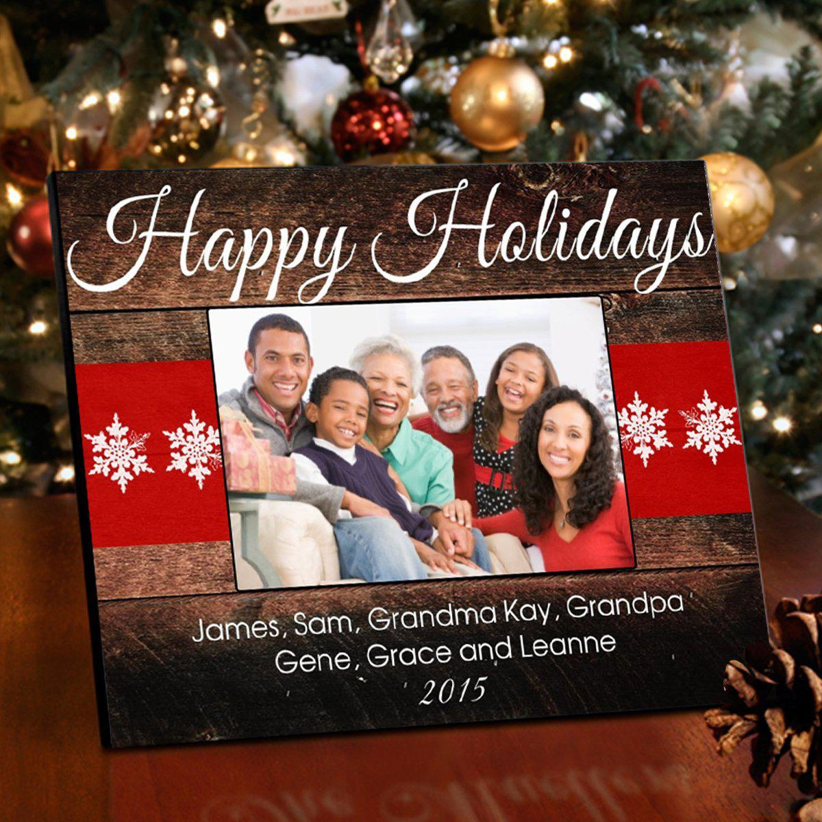 Personalized Rustic Holiday Christmas Picture Frame
