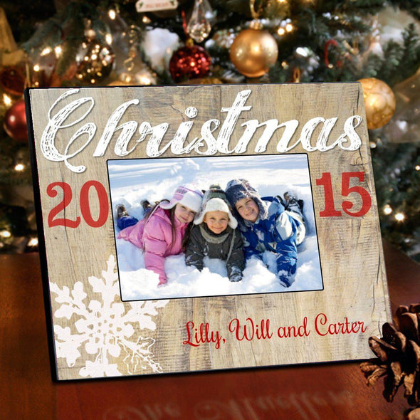 Personalized Rustic Holiday Picture Frame - All - Snowflake