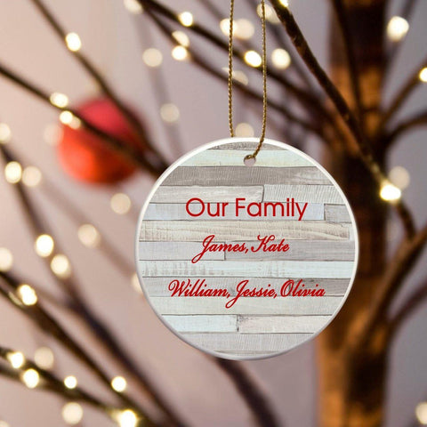 Personalized Our Family Ceramic Ornament - Birch - Ornaments - AGiftPersonalized