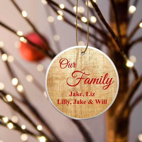 Personalized Our Family Ceramic Ornament - Pine - Ornaments - AGiftPersonalized