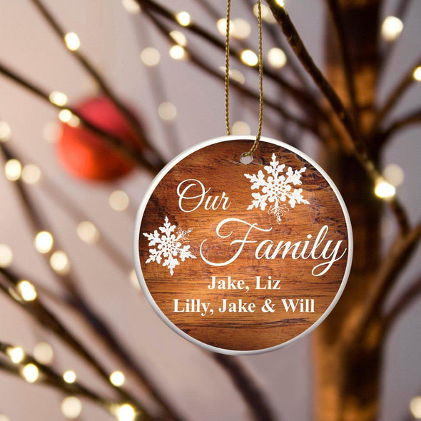 Personalized Our Family Ceramic Ornament - Rosewood - JDS