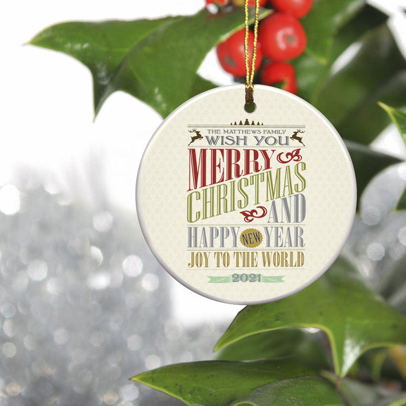 Personalized Vintage Christmas Words Ornament -  - JDS