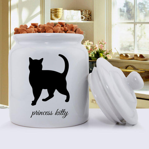 Personalized Classic Silhouette Cat Treat Jar -