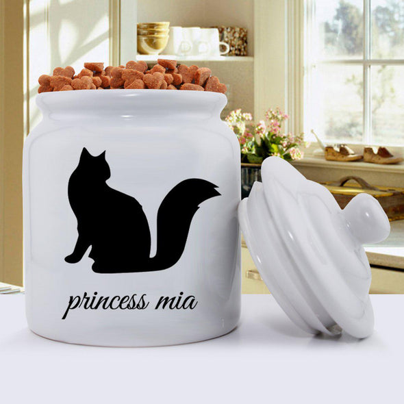 Personalized Classic Silhouette Cat Treat Jar - B - JDS