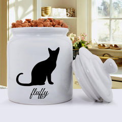 Personalized Classic Silhouette Cat Treat Jar - A