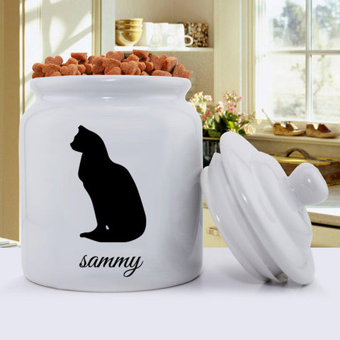 Personalized Classic Silhouette Cat Treat Jar - D