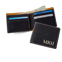 Personalized Wallets - Leatherette - Monogrammed - Executive Gifts - Black