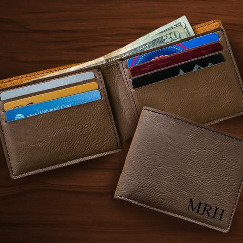 Personalized Wallets - Leatherette - Monogrammed - Executive Gifts - DarkBrown