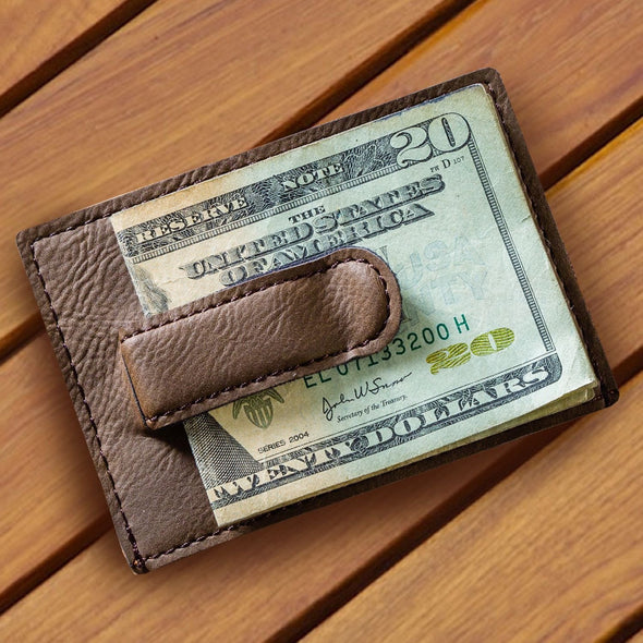 Personalized Leatherette Money Clip & Card Holder Dark Brown -  - JDS