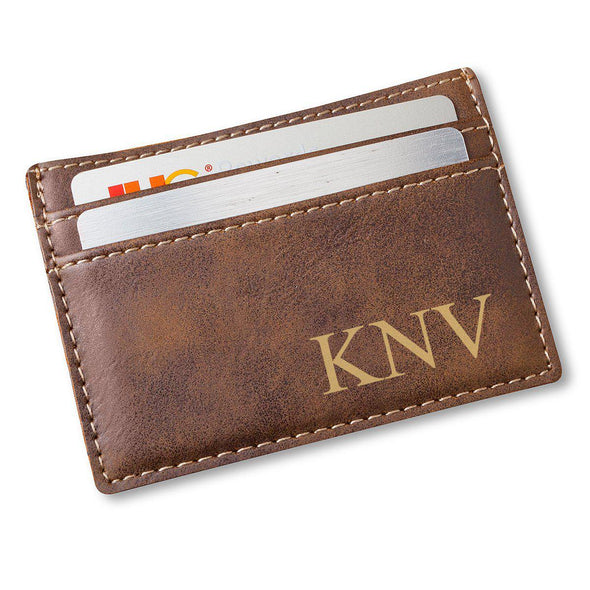 Men's Money Clip Wallet - Monogram - Rustic - JDS