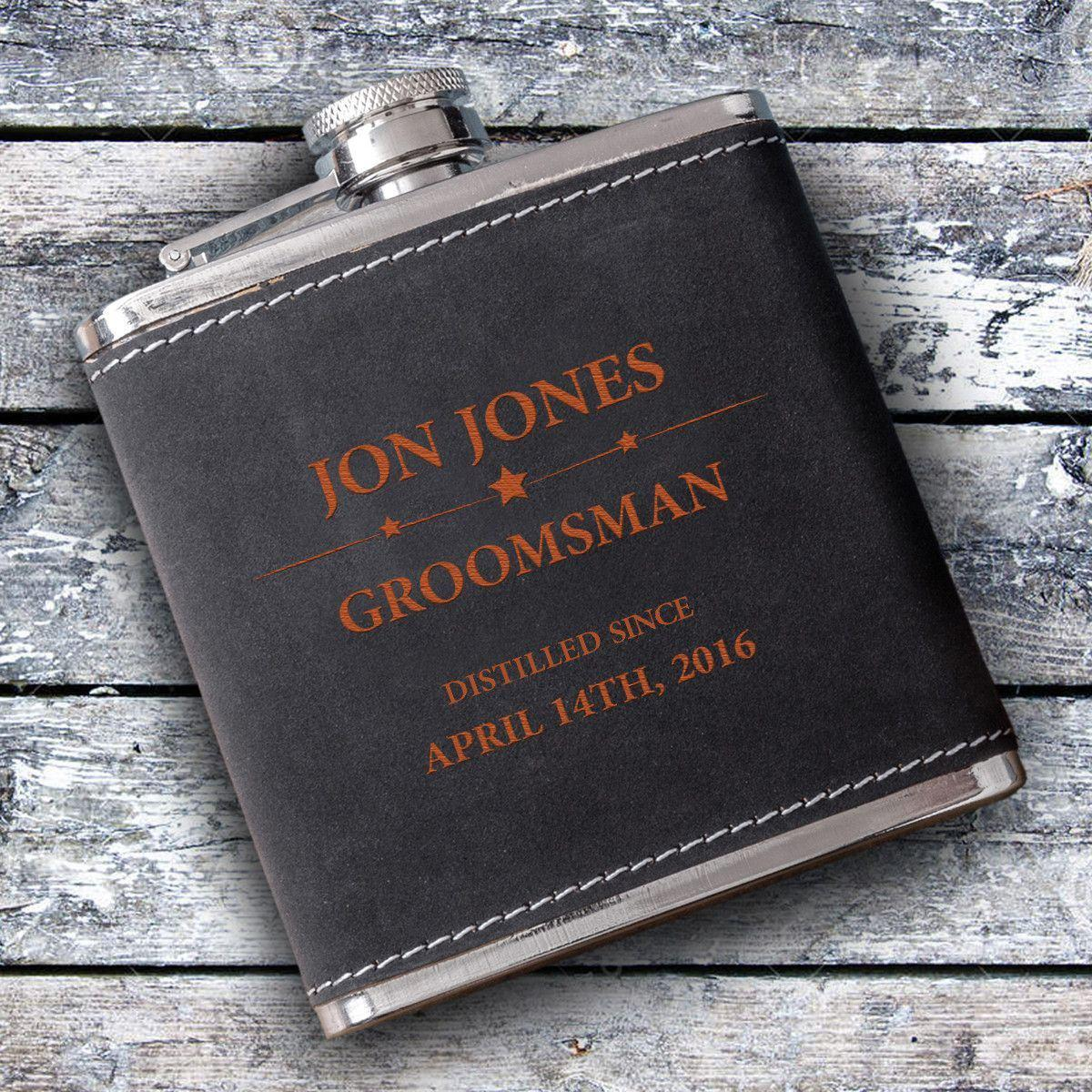 Personalized Groomsmen 6 oz Suede Flask with Orange Lettering