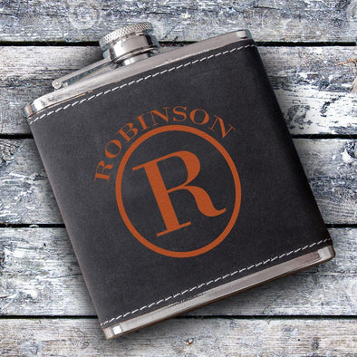 Personalized Silverton Monogrammed 6 oz. Suede Flask - Circle - JDS