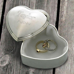 Personalized Keepsake Box - Trinket Box - Engraved - Heart - Silver Plated -  - Keepsake Gifts - AGiftPersonalized