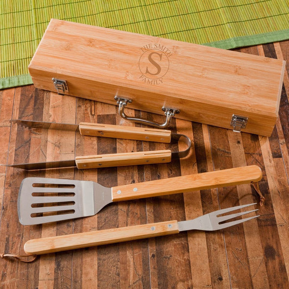Personalized Grill Set - BBQ Set - Bamboo Case - 6 Designs - Circle - JDS
