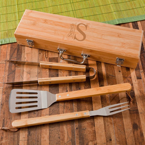 Personalized Grill Set - BBQ Set - Bamboo Case - 6 Designs - Modern - JDS