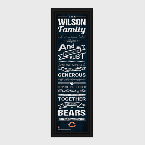 Personalized NFL Family Cheer Print & Frame - All NFL Team Available - Bears - Professional Sports Gifts - AGiftPersonalized