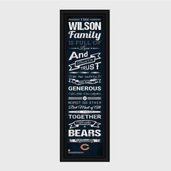 Personalized NFL Family Cheer Print & Frame - All NFL Team Available - Bears