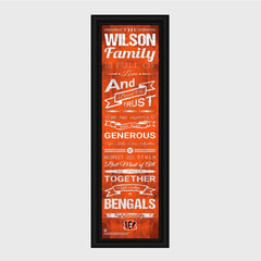 Personalized NFL Family Cheer Print & Frame - All NFL Team Available - Bengals - Professional Sports Gifts - AGiftPersonalized