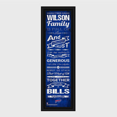 Personalized NFL Family Cheer Print & Frame - All NFL Team Available - Bills - Professional Sports Gifts - AGiftPersonalized