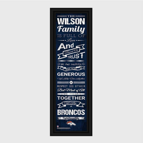 Personalized NFL Family Cheer Print & Frame - All NFL Team Available - Broncos - Professional Sports Gifts - AGiftPersonalized