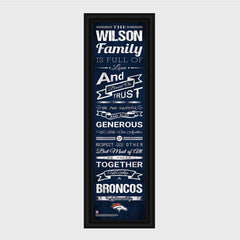 Personalized NFL Family Cheer Print & Frame - All NFL Team Available - Broncos