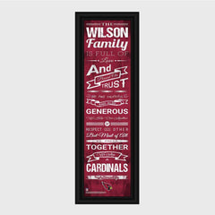 Personalized NFL Family Cheer Print & Frame - All NFL Team Available - Cardinals