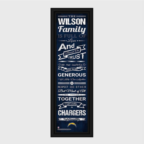 Personalized NFL Family Cheer Print & Frame - All NFL Team Available - Chargers - Professional Sports Gifts - AGiftPersonalized