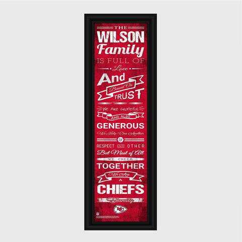 Personalized NFL Family Cheer Print & Frame - All NFL Team Available - Chiefs