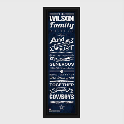 Personalized NFL Family Cheer Print & Frame - All NFL Team Available - Cowboys