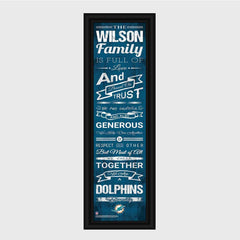 Personalized NFL Family Cheer Print & Frame - All NFL Team Available - Dolphins - Professional Sports Gifts - AGiftPersonalized