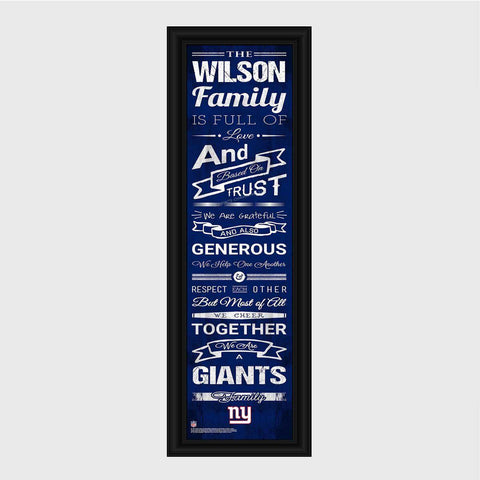Personalized NFL Family Cheer Print & Frame - All NFL Team Available - Giants - Professional Sports Gifts - AGiftPersonalized