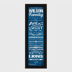 Personalized NFL Family Cheer Print & Frame - All NFL Team Available - Lions