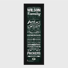 Personalized NFL Family Cheer Print & Frame - All NFL Team Available - Packers - Professional Sports Gifts - AGiftPersonalized