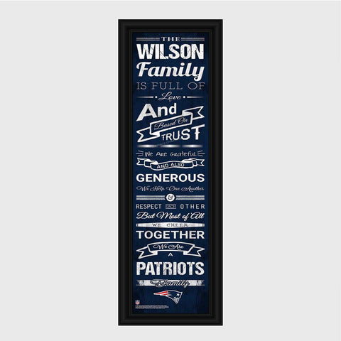 Personalized NFL Family Cheer Print & Frame - All NFL Team Available - Patriots - Professional Sports Gifts - AGiftPersonalized
