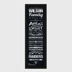 Personalized NFL Family Cheer Print & Frame - All NFL Team Available - Raiders - Professional Sports Gifts - AGiftPersonalized