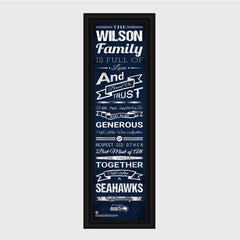 Personalized NFL Family Cheer Print & Frame - All NFL Team Available - Seahawks - Professional Sports Gifts - AGiftPersonalized