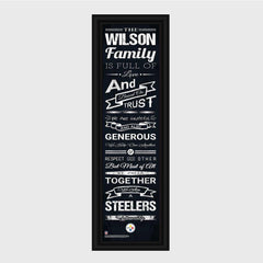 Personalized NFL Family Cheer Print & Frame - All NFL Team Available - Steelers