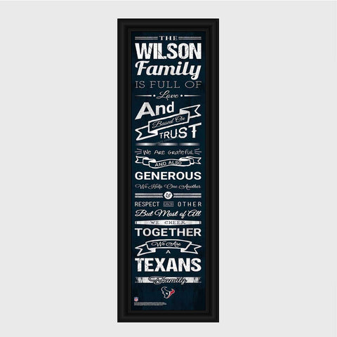 Personalized NFL Family Cheer Print & Frame - All NFL Team Available - Texans - Professional Sports Gifts - AGiftPersonalized