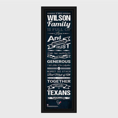 Personalized NFL Family Cheer Print & Frame - All NFL Team Available - Texans