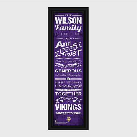 Personalized NFL Family Cheer Print & Frame - All NFL Team Available - Vikings