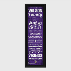 Personalized NFL Family Cheer Print & Frame - All NFL Team Available - Vikings - Professional Sports Gifts - AGiftPersonalized