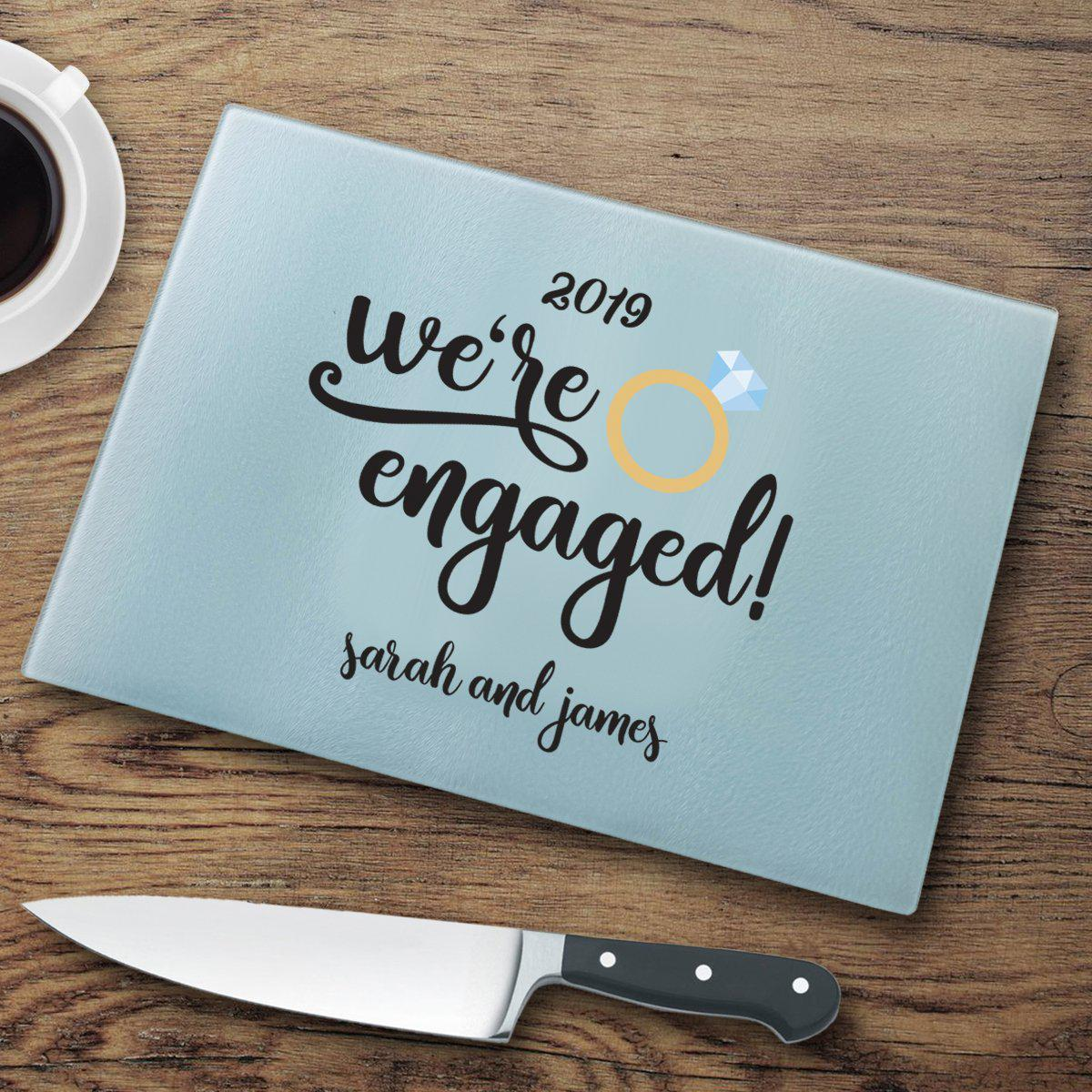 We're Engaged Personalized Glass Cutting Board